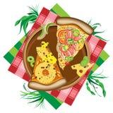 Απομονωμένη απεικόνιση της πίτσας στο άσπρο υπόβαθρο Στοκ Εικόνες