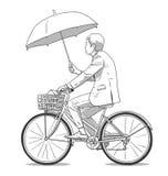 Απομονωμένη απεικόνιση του οδηγώντας ποδηλάτου ατόμων κρατώντας την ομπρέλα και φορώντας το επιχειρησιακό κοστούμι στο χρώμα Στοκ φωτογραφία με δικαίωμα ελεύθερης χρήσης