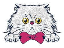 απομονωμένη αστεία γάτα στην άσπρη συρμένη χέρι γάτα υποβάθρου doodle για την ενήλικη χρωματίζοντας σελίδα απελευθέρωσης πίεσης Στοκ Φωτογραφίες