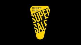 Απομονωμένη αυτοκόλλητη ετικέττα πώλησης με το άλφα κανάλι απόθεμα βίντεο