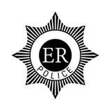 Απομονωμένη διανυσματική σκιαγραφία ενός βρετανικού διακριτικού αστυνομίας στοκ εικόνα με δικαίωμα ελεύθερης χρήσης