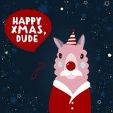 Απομονωμένη επίπεδη νέα απεικόνιση έτους με το λάμα Ευτυχή Χριστούγεννα, μάγκα Στοκ φωτογραφία με δικαίωμα ελεύθερης χρήσης