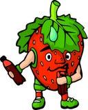 Απομονωμένη ευτυχής φράουλα κινούμενων σχεδίων με το ποτό ελεύθερη απεικόνιση δικαιώματος