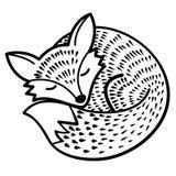 Απομονωμένη διάνυσμα αλεπού μαύρο λευκό Στοκ Εικόνα