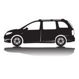 Απομονωμένη διάνυσμα εικόνα σκιαγραφιών αυτοκινήτων μαύρη σκιαγραφία καλυμμένο αντανάκλαση στούντιο αυτοκινήτων Στοκ Φωτογραφία