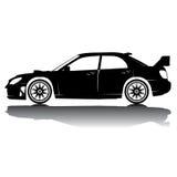 Απομονωμένη διάνυσμα εικόνα σκιαγραφιών αυτοκινήτων μαύρη σκιαγραφία καλυμμένο αντανάκλαση στούντιο αυτοκινήτων Στοκ Εικόνες