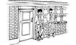Απομονωμένη διανυσματική απεικόνιση δύο ατόμων που στέκονται στην οδό από μια πόρτα Στοκ Φωτογραφίες