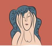 απομονωμένη κατάθλιψη λευκή γυναίκα απεικόνιση αποθεμάτων