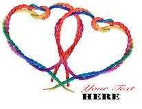 Απομονωμένη κόκκινη κορδέλλα καρδιών Στοκ φωτογραφία με δικαίωμα ελεύθερης χρήσης