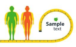 απομονωμένη λευκή γυναίκα βάρους κορμών μέτρου απώλειας απεικόνιση αποθεμάτων