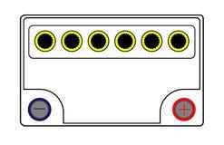 Απομονωμένη μπαταρία αυτοκινήτων 12 βολτ απεικόνιση αποθεμάτων