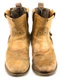 Απομονωμένη μπότα δέρματος μηχανικών όρφνωσης Στοκ φωτογραφίες με δικαίωμα ελεύθερης χρήσης