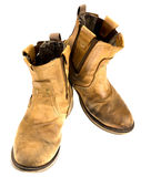 Απομονωμένη μπότα δέρματος μηχανικών όρφνωσης Στοκ φωτογραφία με δικαίωμα ελεύθερης χρήσης