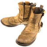 Απομονωμένη μπότα δέρματος μηχανικών όρφνωσης Στοκ Φωτογραφία
