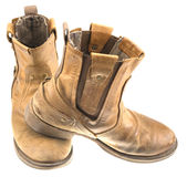 Απομονωμένη μπότα δέρματος μηχανικών όρφνωσης Στοκ εικόνες με δικαίωμα ελεύθερης χρήσης