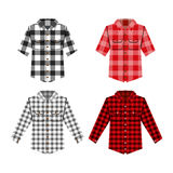 Απομονωμένη πουκάμισο διανυσματική απεικόνιση Cheskered Στοκ Εικόνες