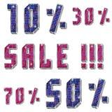 Απομονωμένη πώληση επιγραφής με τις πέτρες και percents Στοκ Φωτογραφίες