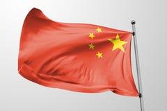 Απομονωμένη σημαία της Κίνας την τρισδιάστατη ρεαλιστική σημαία της Κίνας που δίνεται που κυματίζει ελεύθερη απεικόνιση δικαιώματος