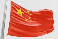 Απομονωμένη σημαία της Κίνας την τρισδιάστατη ρεαλιστική σημαία της Κίνας που δίνεται που κυματίζει απεικόνιση αποθεμάτων