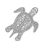 Απομονωμένη συρμένη χέρι μαύρη χελώνα περιλήψεων στο άσπρο υπόβαθρο Διακόσμηση των γραμμών καμπυλών απεικόνιση αποθεμάτων