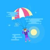 Απομονωμένη σύγχρονη διανυσματική απεικόνιση του νεαρού άνδρα που πετά με ένα αλεξίπτωτο Στοκ φωτογραφία με δικαίωμα ελεύθερης χρήσης