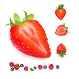 απομονωμένη φράουλα Φρέσκα ώριμα ολόκληρα φρούτα φραουλών που απομονώνονται Στοκ Εικόνα