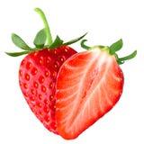 Απομονωμένη φράουλα και μισό Στοκ εικόνες με δικαίωμα ελεύθερης χρήσης