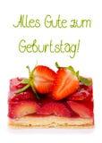 απομονωμένη φράουλα πιτών κουνέλι δώρων καρτών γενεθλίων Στοκ εικόνα με δικαίωμα ελεύθερης χρήσης