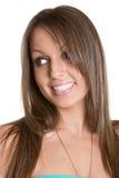 απομονωμένη χαμογελώντας γυναίκα στοκ εικόνες