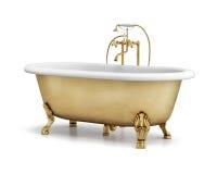Απομονωμένη χρυσή κλασική μπανιέρα χαλκού στο λευκό Στοκ εικόνα με δικαίωμα ελεύθερης χρήσης