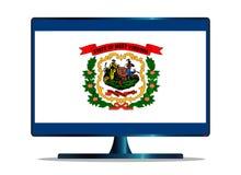Απομονωμένη TV οθόνη σημαιών της δυτικής Βιρτζίνια Στοκ Φωτογραφία
