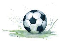 Απομονωμένη watercolour απεικόνιση της ρεαλιστικής γραπτής σφαίρας ποδοσφαίρου με τον πράσινο παφλασμό απεικόνιση αποθεμάτων