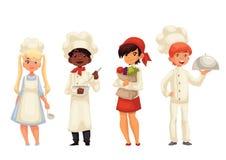 Απομονωμένοι αρχιμάγειρες παιδιών κινούμενων σχεδίων στα καπέλα και ομοιόμορφος διανυσματική απεικόνιση