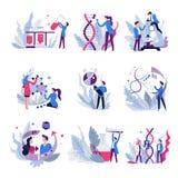 Απομονωμένοι αφηρημένοι επιστήμονες εικονιδίων γενετικής επιστήμη και επιστημονικός εξοπλισμός απεικόνιση αποθεμάτων