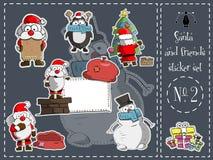 Απομονωμένοι πακέτο αυτοκόλλητων ετικεττών, Santa και φίλοι 2 διάνυσμα Στοκ Εικόνα