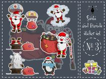 Απομονωμένοι πακέτο αυτοκόλλητων ετικεττών, Santa και φίλοι 3 διάνυσμα απεικόνιση αποθεμάτων