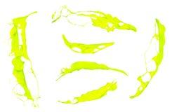 Απομονωμένοι πράσινοι παφλασμοί χρωμάτων στο άσπρο υπόβαθρο Στοκ εικόνες με δικαίωμα ελεύθερης χρήσης