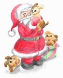 Απομονωμένος Άγιος Βασίλης με τα χαριτωμένα κουτάβια Στοκ Εικόνες