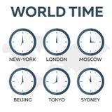 απομονωμένος άσπρος κόσμος Υόρκη τριών ρολογιών του χρονικού Τόκιο του Λονδίνου νέος ρολόι ελαφρύ γραφείο μετάλλων ετικετών απεικ Στοκ φωτογραφία με δικαίωμα ελεύθερης χρήσης