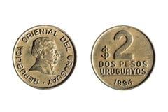 Απομονωμένος  άσπρος  νόμισμα  υπόβαθρο  Ουρουγουάη  μέταλλο  πέσο  χρηματοδότηση Στοκ Εικόνες