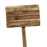 απομονωμένος άσπρος ξύλινος σημαδιών Ξύλινο παλαιό σημάδι σανίδων Στοκ εικόνες με δικαίωμα ελεύθερης χρήσης