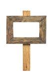 απομονωμένος άσπρος ξύλινος σημαδιών Ξύλινο παλαιό σημάδι σανίδων Στοκ Φωτογραφία