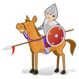 Απομονωμένος αστείος ιππότης κινούμενων σχεδίων στο χαμογελασμένο άλογο Στοκ Εικόνες