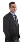 Απομονωμένος ευτυχής όμορφος επιχειρηματίας στο κοστούμι. στοκ εικόνες με δικαίωμα ελεύθερης χρήσης