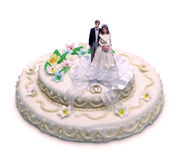 απομονωμένος κέικ γάμος στοκ φωτογραφία