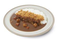 Απομονωμένος και πορεία ψαλιδίσματος του ιαπωνικού ρυζιού κάρρυ με το tonkatsu στοκ φωτογραφία με δικαίωμα ελεύθερης χρήσης