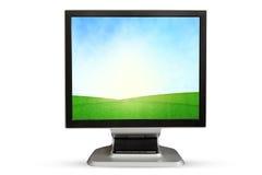 απομονωμένος παρουσίαση μηνύτορας υπολογιστών ανασκόπησης πέρα από το λευκό η ανασκόπηση απομόνωσε το λευκό Στοκ Εικόνες