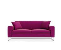 Απομονωμένος σύγχρονος ρόδινος πορφυρός σύγχρονος καναπές Στοκ φωτογραφία με δικαίωμα ελεύθερης χρήσης