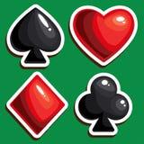 Απομονωμένος τέσσερα κοστούμια καρτών για το παιχνίδι πόκερ στη χαρτοπαικτική λέσχη Στοκ Εικόνες