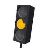 Απομονωμένος φωτεινός σηματοδότης με το κίτρινο φως επάνω Στοκ εικόνα με δικαίωμα ελεύθερης χρήσης